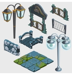 Fragments of decoration fence bridge gate pub vector