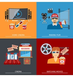 Movie flat concepts set vector