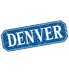 Denver blue square grunge retro style sign vector