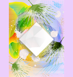 Abstract polygonal design with palm leaves vector