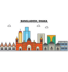 Bangladesh dhaka city skyline architecture vector