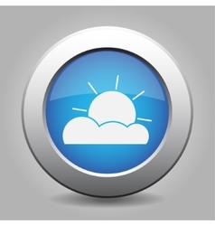 blue metal button with weather - partly cloudy vector image vector image