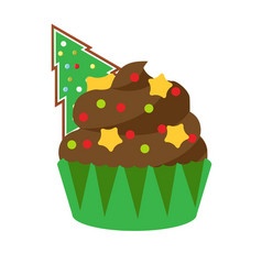 christmas cupcake with green spruce gingerbread vector image vector image