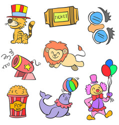 Doodle element circus colorful vector