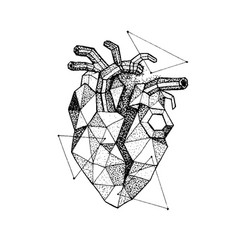 dotwork polygonal broken heart vector image