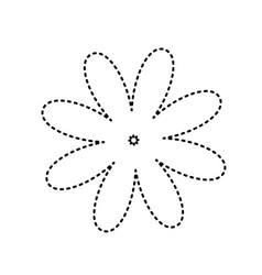 Flower sign black dashed vector