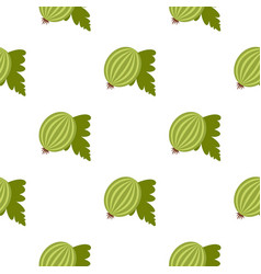 Fresh green gooseberry with leaves pattern flat vector