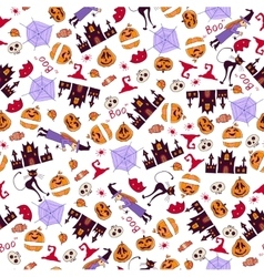 Halloween seamless bright kids doodle pattern vector
