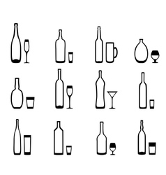 Icons bottles with glasses vector