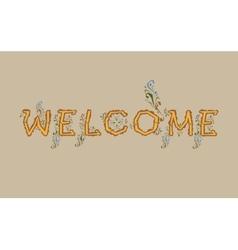 Inscription welcome artistic font vector