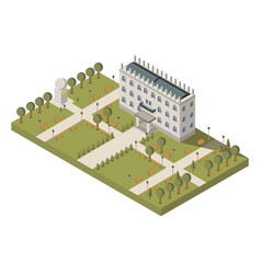 isometric university composition vector image vector image