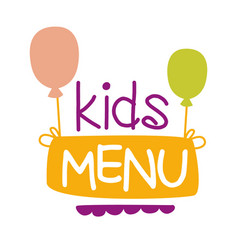 kids food cafe special menu for children colorful vector image