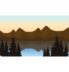 Landscape mountain on the lake vector
