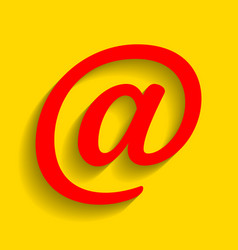 mail sign red icon with soft vector image