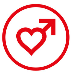 Male heart rounded icon vector
