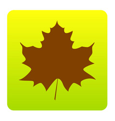 Maple leaf sign brown icon at green vector