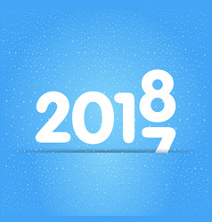 new year 2018 with snow texture vector image