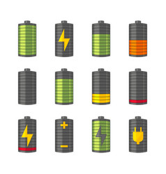 Phone or smartphone battery icons with various vector