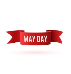 Red curved paper may day banner vector