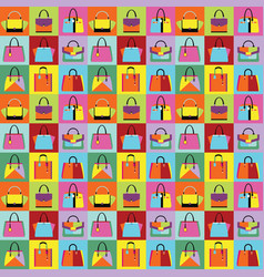 retro pop art women purse and hand bag set pattern vector image vector image