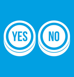 Round signs yes and no icon white vector