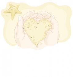 sandy heart in his hands vector image vector image
