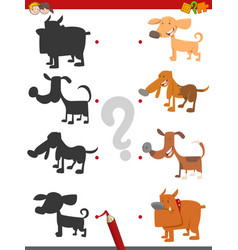 Shadow game with dog characters vector