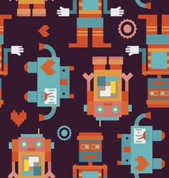 Trio robots seamless pattern vector image vector image