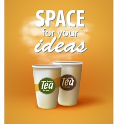 Two cups of hot black and green tea vector image vector image