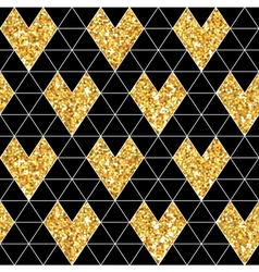 Valentines Day Glitter Gold Seamless Pattern vector image vector image