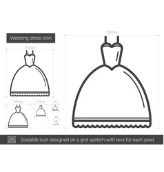 Wedding dress line icon vector