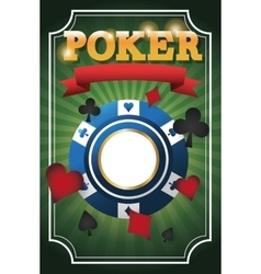Cards symbols of poker and chip design vector