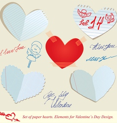 hearts paper 3 380 vector image