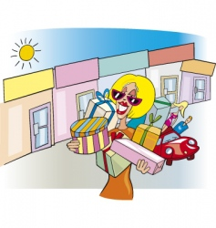 Woman on shopping vector