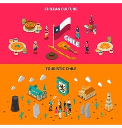 Touristic chile 2 isometric horizontal banners vector