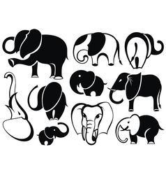 Elephant set silhouette vector