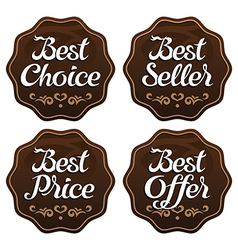 Best seller choice price offer labels vector