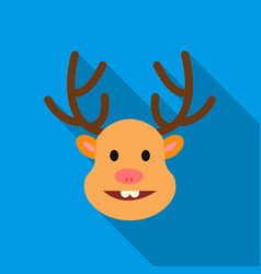 christmas reindeer with red nose icon in flat vector image