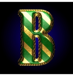 Golden and green letter b vector