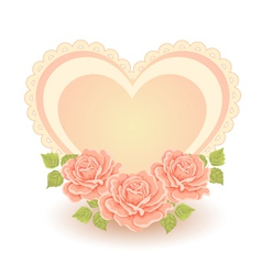 Heart shape with roses vector