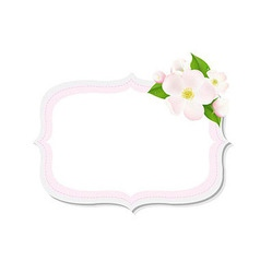 Apple tree flowers with label vector