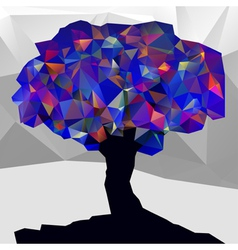 Abstract winter low poly color tree vector