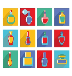 Parfume set bottle icon collection in flat design vector