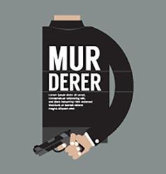 Gun in murderers hand vector