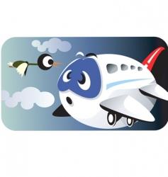 aeroplane and bird vector image vector image