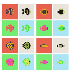 Aquarium fish silhouette stock collection vector