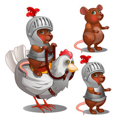 Beaver knight on chicken cartoon animals character vector