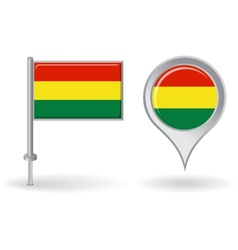 Bolivian pin icon and map pointer flag vector