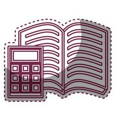 Book school with calculator supply icon vector
