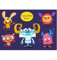 Cartoon funny monsters collection vector
